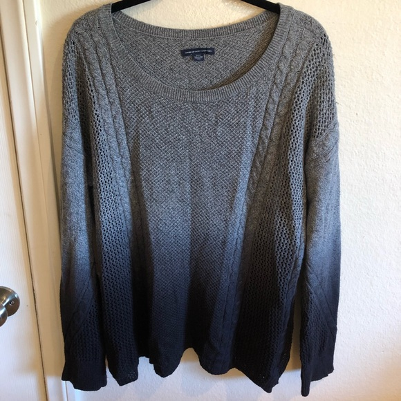 American Eagle Ombré Dyed Grey Blue Knit Sweater